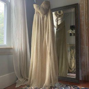 Bhldn Jenny Yoo gold maxi dress